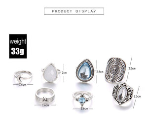 Retro Gemstones Water Dropping Pebble 7 Piece Joint Ring Set
