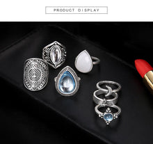 Load image into Gallery viewer, Retro Gemstones Water Dropping Pebble 7 Piece Joint Ring Set