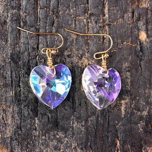Heart Shape Bling Crystal Magic Eardrop Pendant Handmade Wire Earrings