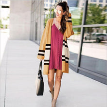 Load image into Gallery viewer, Casual Striped Open Front Long Sleeves Knitted Cardigan Sweaters