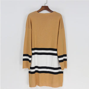 Casual Striped Open Front Long Sleeves Knitted Cardigan Sweaters