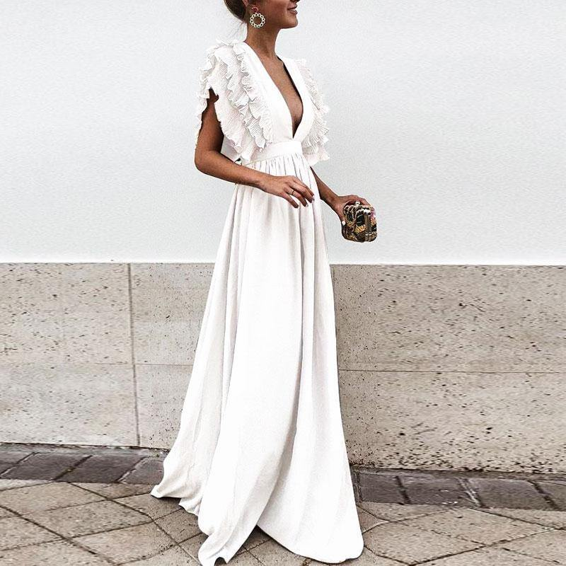 2018 Solid Color Deep V Neck Backless Maxi Dress