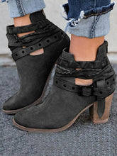 Load image into Gallery viewer, Fashion Buckle Mid-heel Ankle Chelsea Boots Shoes