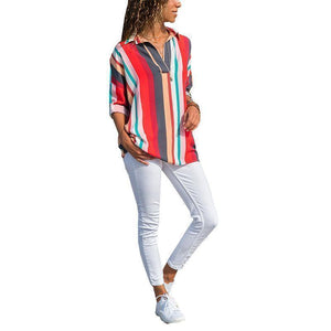 New Fashion Color Stripes Long Sleeves Loose Shirt
