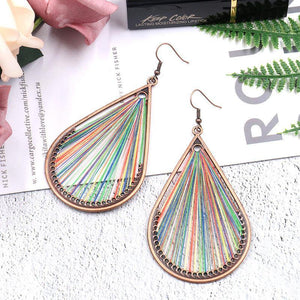Bohemian folk style handmade silk earrings exaggerated personality drop earrings