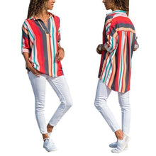 Load image into Gallery viewer, New Fashion Color Stripes Long Sleeves Loose Shirt
