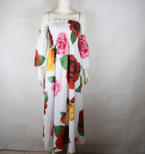 Load image into Gallery viewer, White Rose Floral Strapless Off Shoulder Sleeve Big Hem Long Dress