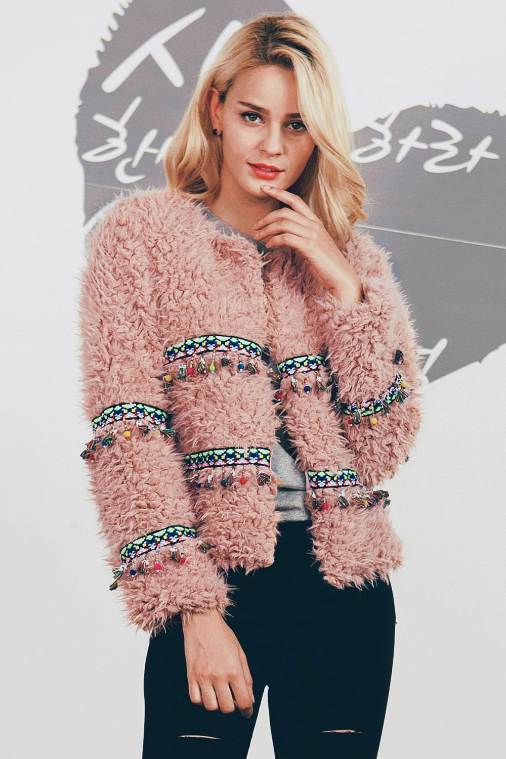Winter Imitation Lamp Fur Tassel Short Coat Soft Jacket