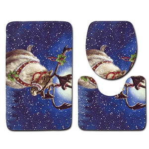 Christmas Snowman Pattern Three-Piece Bathroom Carpet