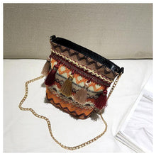 Load image into Gallery viewer, Bohemian National Style Weaving Tassel Bucket Bag Shoulder Bag Crossbody Bag