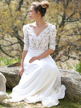 Load image into Gallery viewer, Classical White Lace V-Neck Half Sleeve Maxi Dress