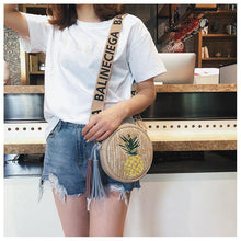 Load image into Gallery viewer, Pineapple embroidery small round bag Korean version simple shoulder slung women straw bag
