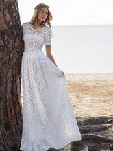 Load image into Gallery viewer, Classical Solid Color White Hollow Maxi Dress