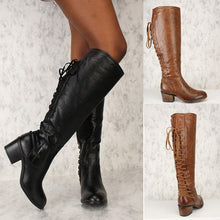 Load image into Gallery viewer, Winter PU Warm Low Heel Bandage Long Boots