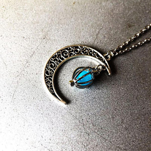 Halloween Hollow Moon Luminous Pendant Necklace