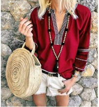 Load image into Gallery viewer, Ethnic Style Stripes V-Neck Cropped Sleeves Casual Tops