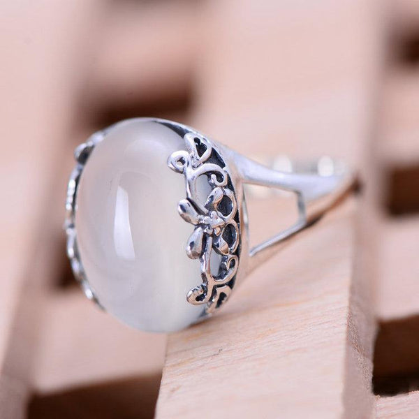 Hollow Carved Edge White Jade Moon Stone Ring