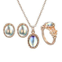 Load image into Gallery viewer, Creative Geometrical Gem Cat Eye Ring Necklace Earrings 3 PCS Set