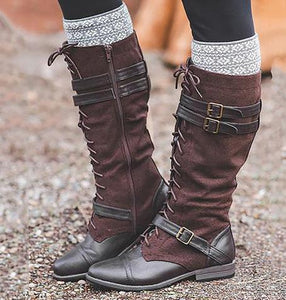 Boho Winter Bandage Colorblock Long Boots