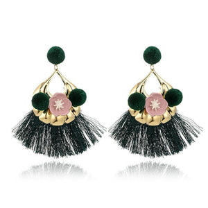 Vintage Color Flower Tassel Earrings