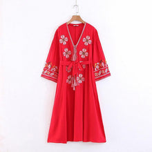 Load image into Gallery viewer, Boho Tassels Floral Embroidery V-neck Loose Long Dress