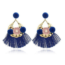 Load image into Gallery viewer, Vintage Color Flower Tassel Earrings