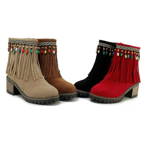 Boho Brushed Tassels Solid Color Autumn Short Boots