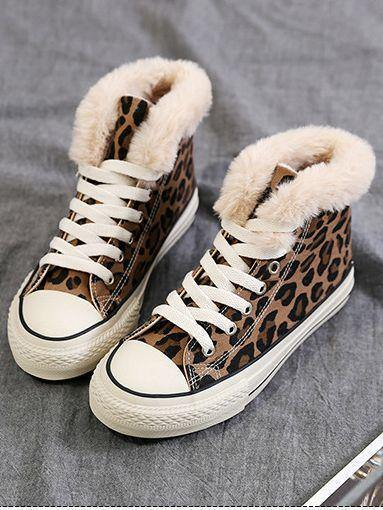 Winter High-Top Leopard Print Wild Warm Snow Boots