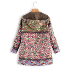 Load image into Gallery viewer, Winter Floral Women Hooded Thick Fleece Coat