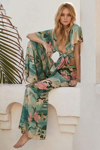 Floral Sexy V-neck Holiday Beach Wrap Blouse And Pants