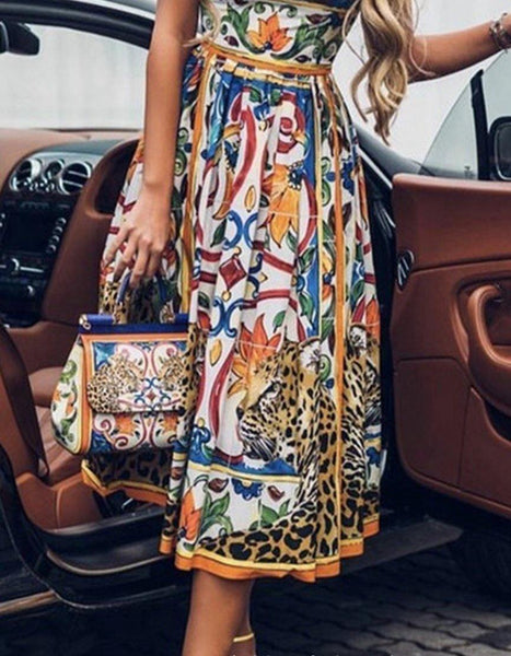 Sexy sleeveless retro print crew neck midi dress