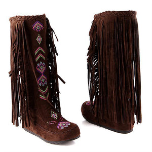 National Style Casual Tassel Bottom Increased Boots