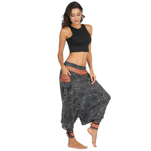 Printed Beam Loose Large Size Bloomers Pants