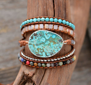 Bohemian Handmade Natural Stones Leather Wrap 5 Layer Bracelet