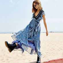 Load image into Gallery viewer, Vacation Bohemian Ruffled Lace V-Neck Chiffon Floral Long Dress