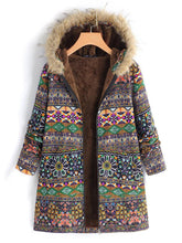 Load image into Gallery viewer, Vintage Boho Floral Printed Long Sleeves Hoodie Quilted Coat