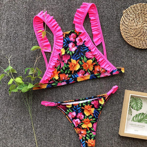 Sexy Floral Printed Beach Two Pieces Bikini Swimsuit