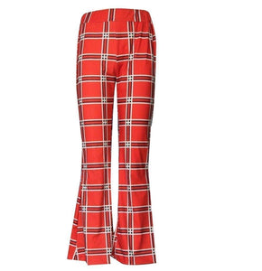 Autumn And Winter Lattice Leisure Micro Bell-bottom Trousers