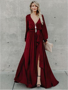 Sexy V Neck Long Sleeve Split Maxi Dress with Belt