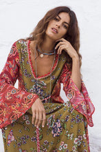 Load image into Gallery viewer, Fashion Print Bohemian Long Sleeve Color Matching Maxi Dress