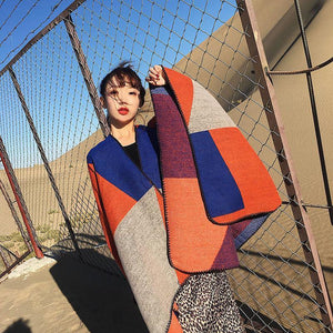 Oversized Thickening Winter Color Block Cloak Shawl
