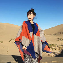 Load image into Gallery viewer, Oversized Thickening Winter Color Block Cloak Shawl