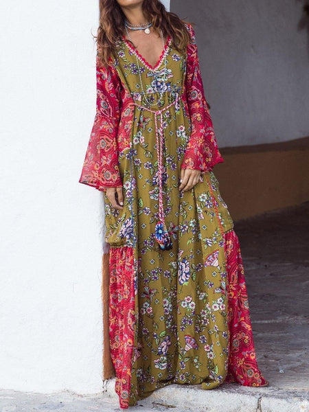 Fashion Print Bohemian Long Sleeve Color Matching Maxi Dress