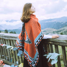 Load image into Gallery viewer, Oversized Autumn Ethnic Style Geometry Pattern Tassel Fringe Poncho Cape