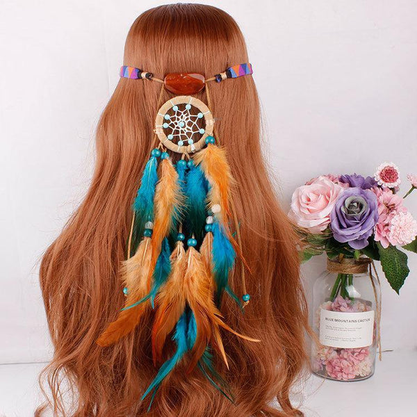 Feather hair band elastic dream catcher national style headwear