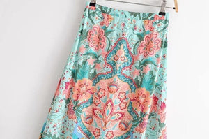 Print Bohemia Long Sleeve Tops High Waist Side Split Skirt 2pcs