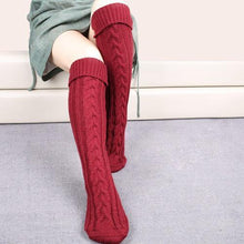 Load image into Gallery viewer, Wool legs leg warp knit Christmas boots over the knee diagonal 8 pattern twist floor socks