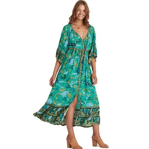 Boho Forest Print Fluted Sleeves Frill Summer Dress V-neck Tied Beach Dress for Women Chic Gypsy Boho Dress