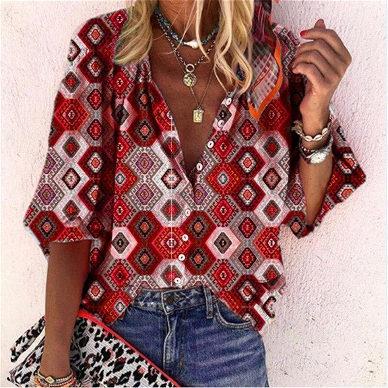 Square Floral Blouse Women Plus Size Long Sleeve Streetwear Buttons Top Shirt