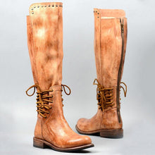 Load image into Gallery viewer, Retro Solid Color Rivets Round Toe Flat Zip Long Boots